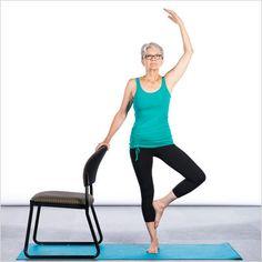 Yoga sur chaise étirement nerf sciatique, bas du corps, plancher pelvien